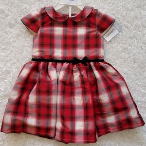 NWT Carters Red Plaid Christmas Dress